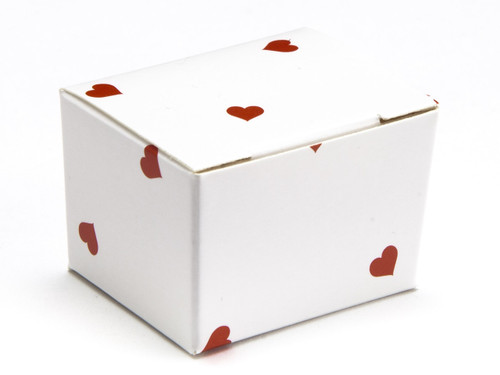 1 Choc Ballotin - Small Red Hearts on White | MeridianSP
