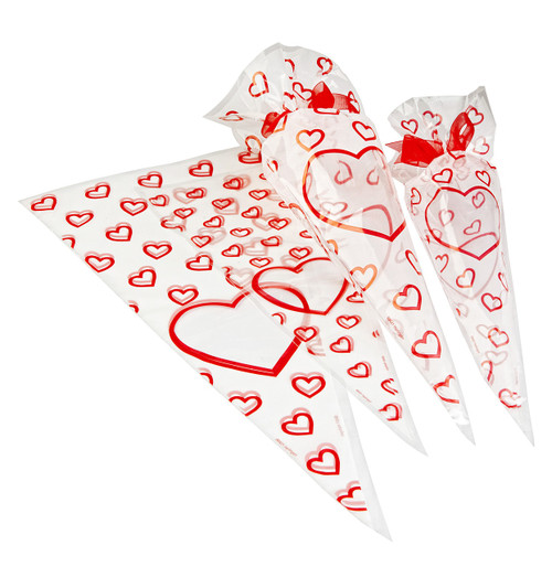 Love Heart Frosted Film Sweet Cone Bag 180x370