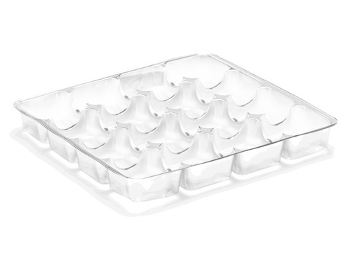 16 Choc Square Vac-Forme Tray - Clear | MeridianSP