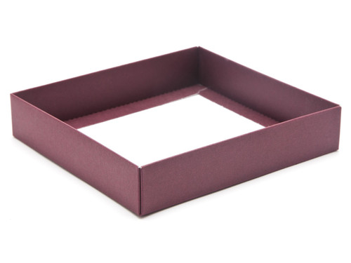 16 Choc Square Burgundy Wibalin Rigid Fold Up Base for Chocolates, Wax Melts, Iced Biscuits