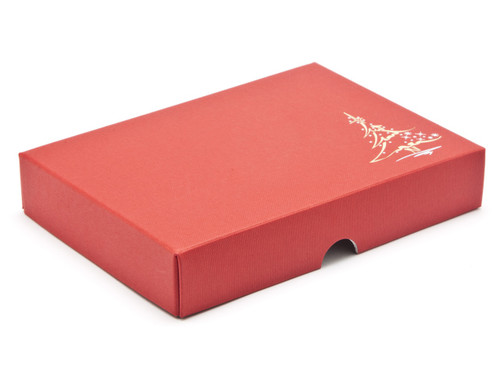 Elegant premium red embossed lid with metallic foiled Christmas tree design - for 12 chocolates