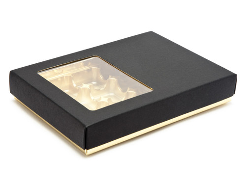 12 Choc Deluxe Buffer Base and Lid (with Window) - Black Lid and Gold Base   MeridianSP