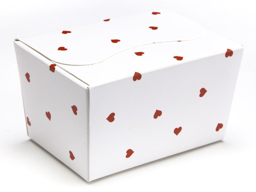 125g Ballotin - Small Red Hearts on White | MeridianSP