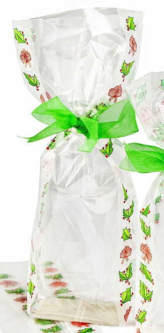 120x275 Hard Bottom Film Bag Frosted Holly Christmas Design