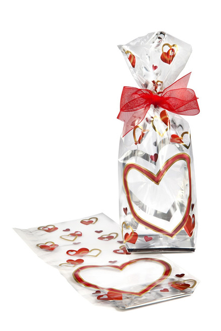 Elegant metallic heart film bag which stands upright on shelf - ideal for chocolate, fudge, praline, confectionery and other dry foods