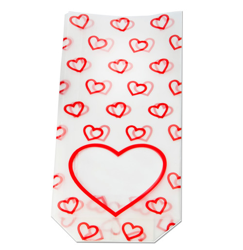 100x220mm Love Heart Valentine's Frosted Film Hard Bottom Bag