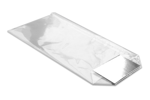 100mm wide and 220mm tall OPP (polypropylene) film bag with functional and attractive silver bottom label