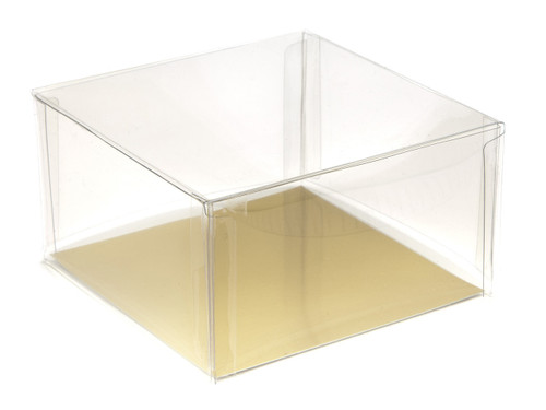 100x100x50 Square Clear Transparent Box and lid with Food Gold Basecard