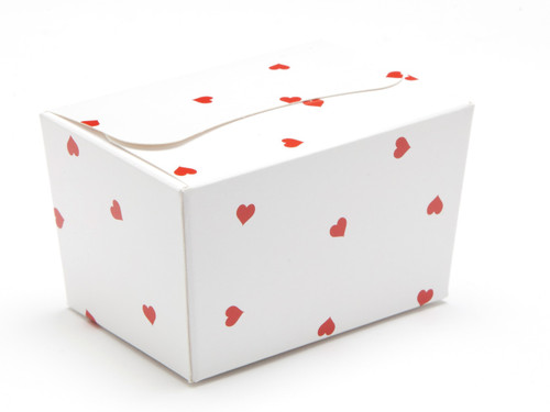 100g Ballotin - Small Red Hearts on White | MeridianSP