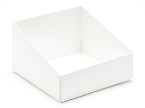 White Angled Base for Small Tapered Transparent Carton   MeridianSP