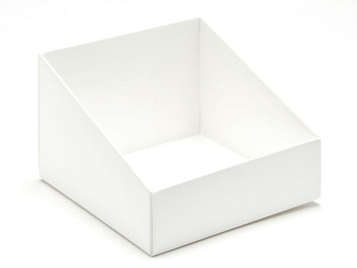 Angled Base for Medium Tapered Transparent Carton - White | MeridianSP