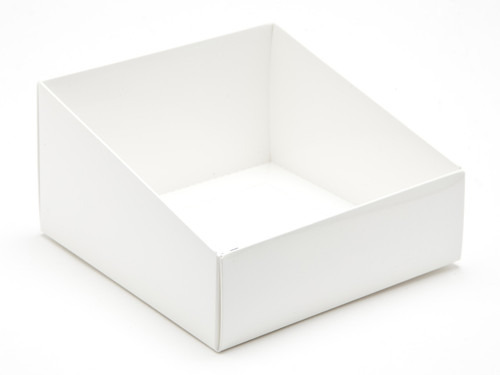 Angled Base for Large Tapered Transparent Carton - White   MeridianSP
