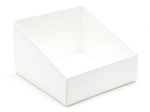 Angled Base for Extra Large Tapered Transparent Carton - White | MeridianSP