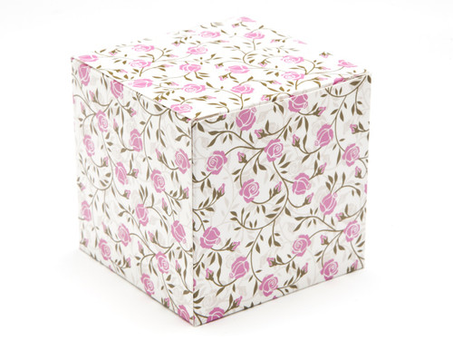 80mm Transparent Cube Carton - Rose Floral | MeridianSP