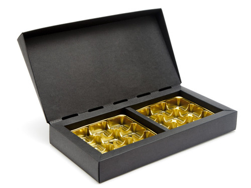 18 Choc Deluxe Gift Box - Black with Gold Vac-forme Trays | MeridianSP