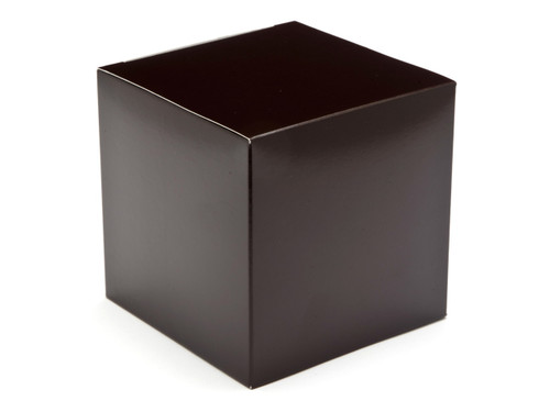 100mm Chocolate Brown Flat Packed Crashlock Cube Carton