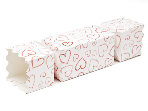 Light Hearts Medium sized Twist End Cracker - Twist-Lock Gift Packaging Cracker Carton Gift Carton Ideal for Valentine's occasions or wedding or gifting