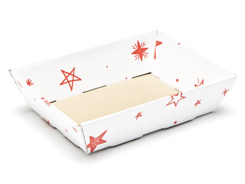 White with Red Stars pattern Small Shallow sized Card Tray Hamper - Fold-up Tapered Gift Tray Ideal for Christmas or Gifting occasions