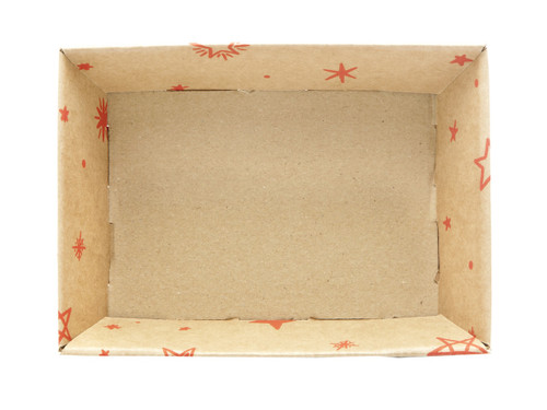 Small Shallow Card Tray Hamper - Kraft Stars | MeridianSP