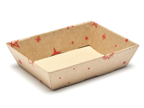 Kraft Stars Small Shallow sized Card Tray Hamper - Fold-up Tapered Gift Tray Ideal for Christmas or Gifting occasions