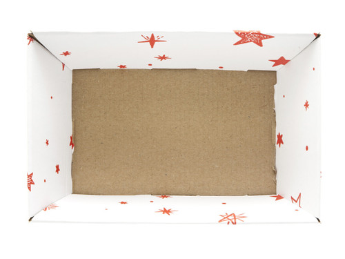 Small Card Tray Hamper - White with Red Stars pattern | MeridianSP