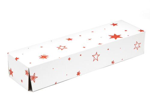 White with Red Stars pattern Riser Plinth for General Purpose Gift Box sized  - Gift Box - Larger Size - Riser Plinth Ideal for Christmas or Gifting occasions