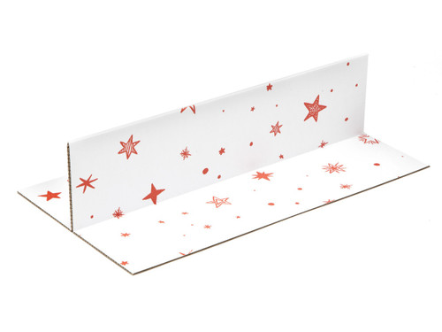 White with Red Stars pattern 2 Bottle sized Divider Insert for Small General Gift Box - Gift Box - Larger Size - 2 Bottle Divider Ideal for Christmas or Gifting occasions