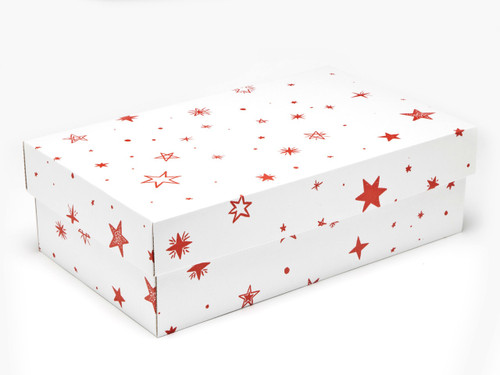 White with Red Stars pattern Small sized General Purpose Gift Box - Gift Box - Larger Size Ideal for Christmas or Gifting occasions
