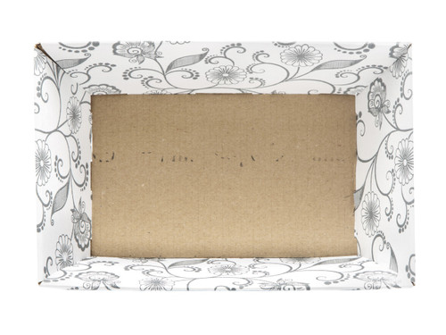 Small Card Tray Hamper - White with Floral Pattern | MeridianSP