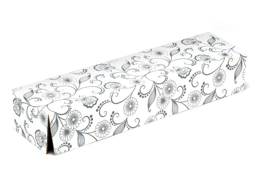 White with Floral Pattern Riser Plinth for General Purpose Gift Box sized  - Gift Box - Larger Size - Riser Plinth Ideal for Christmas or Gifting occasions