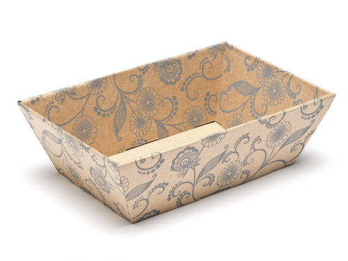 Kraft Floral Small sized Card Tray Hamper - Fold-up Tapered Gift Tray Ideal for Christmas or Gifting occasions