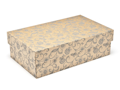 Kraft Floral Small sized General Purpose Gift Box - Gift Box - Larger Size Ideal for Christmas or Gifting occasions
