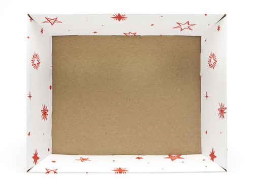 Medium Card Tray Hamper - White with Red Stars pattern | MeridianSP