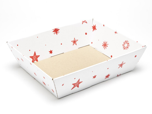 White with Red Stars pattern Medium sized Card Tray Hamper - Fold-up Tapered Gift Tray Ideal for Christmas or Gifting occasions