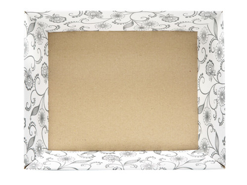 Medium Card Tray Hamper - White with Floral Pattern | MeridianSP