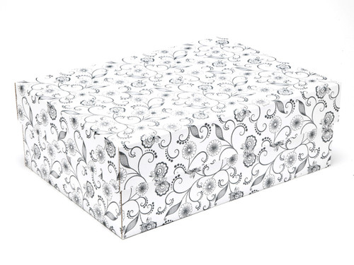 White with Floral Pattern Medium sized General Purpose Gift Box - Gift Box - Larger Size Ideal for Christmas or Gifting occasions