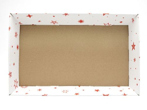 Large Card Tray Hamper - White with Red Stars pattern   MeridianSP