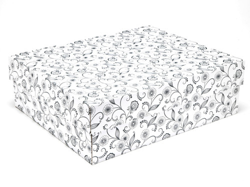 White with Floral Pattern Large sized General Purpose Gift Box - Gift Box - Larger Size Ideal for Christmas or Gifting occasions