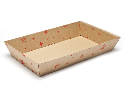 Kraft Stars Large sized Card Tray Hamper - Fold-up Tapered Gift Tray Ideal for Christmas or Gifting occasions
