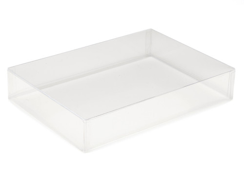 A versatile clear base and lid style transparent box which can also be used to hold six small Christmas crackers from our cracker collection (crackers sold separately)