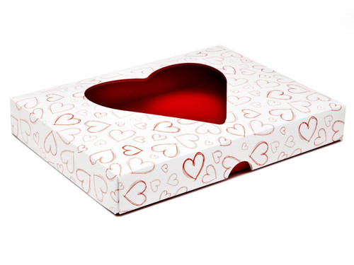 Light Hearts 24 Choc sized Heart Window Lid - Fold-up Gift Box Lid Ideal for Valentine's occasions or wedding or gifting