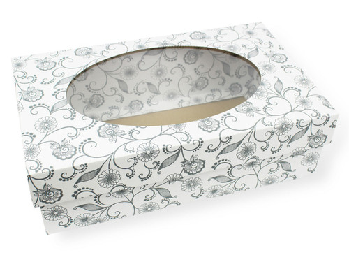 Small General Purpose Corrugated Gift Box White with Floral Pattern with Oval Window