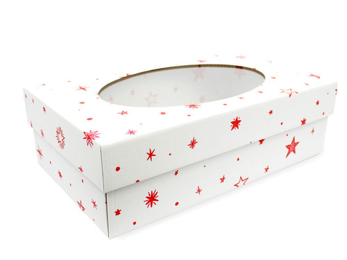 White with Red Stars pattern Small sized General Purpose Gift Box with Oval Window - Gift Box - Larger Size Ideal for Christmas or Gifting occasions