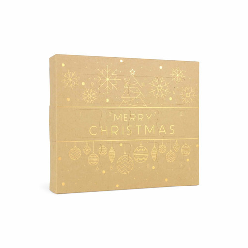 12 Day Self Fill Advent Calendar Natural Kraft Gold Baubles