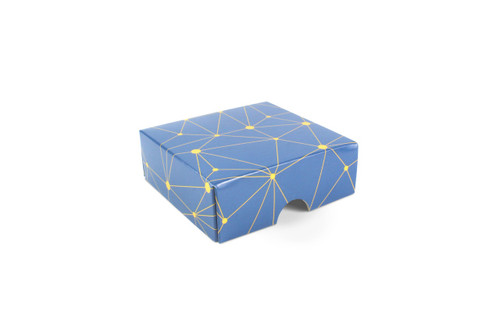 4 Choc Geometric Blue and Yellow Print Point to Point Lid
