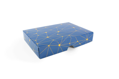 12 Choc Geometric Blue and Yellow Print Point to Point Lid