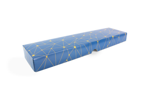 16 Choc Geometric Blue and Yellow Print Point to Point Lid