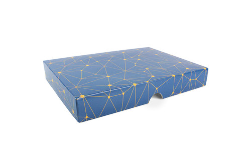 24 Choc Geometric Blue and Yellow Print Point to Point Lid