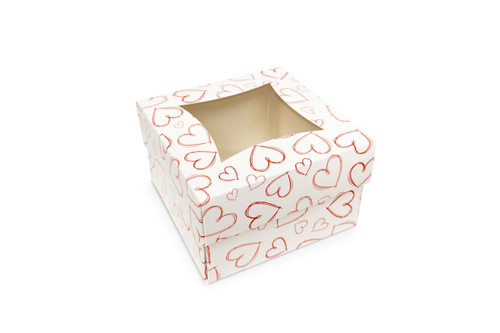Small Light Heart Cake Box and Windowed Lid