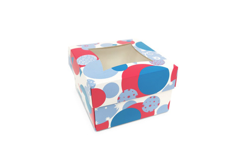 Small Spotty Bauble Cake Box and Windowed Lid